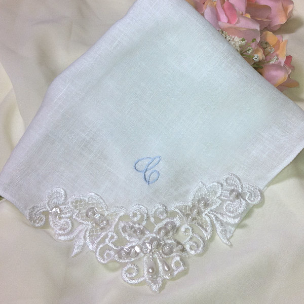 Linen Mother of the Bride Wedding Handkerchief Couture Venice Lace