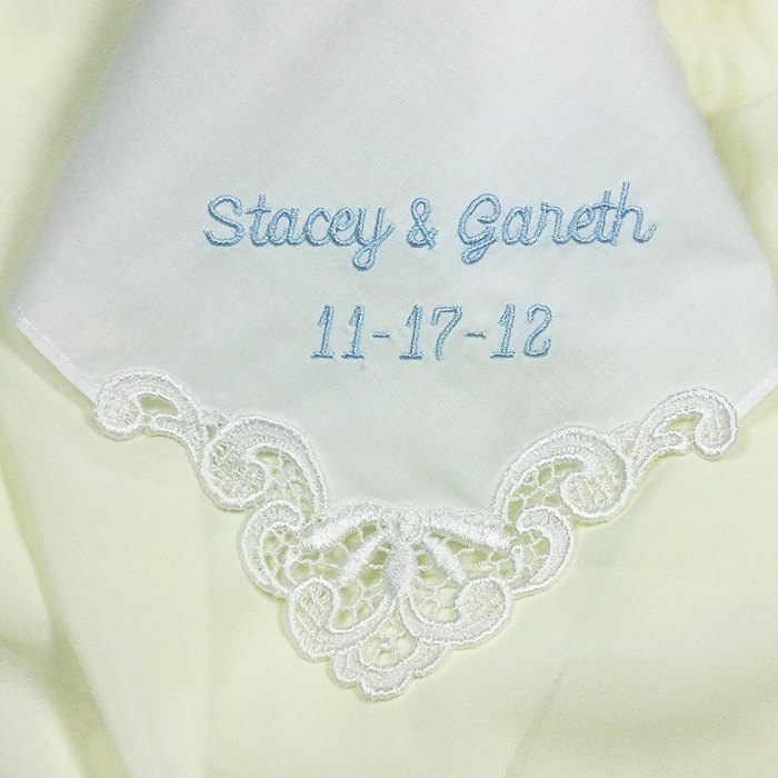 Personalized Wedding Gift Handkerchief for Bride Something Blue Bridal - Cotton -H9102