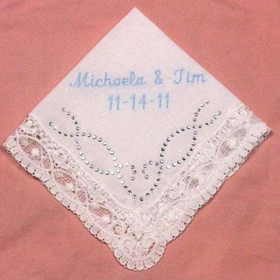 Something Blue Wedding Handkerchief with Crystal Rhinestones